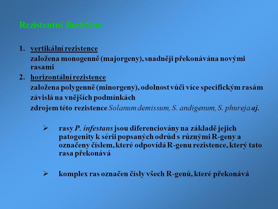 Rezistentní šlechtění: 1.vertikální rezistence založena monogenně (majorgeny), snadněji překonávána novými rasami 2.horizontální rezistence založena p