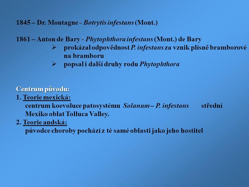 1845 – Dr. Montagne - Botrytis infestans (Mont.) 1861 – Anton de Bary - Phytophthora infestans (Mont.) de Bary  prokázal odpovědnost P. infestans za