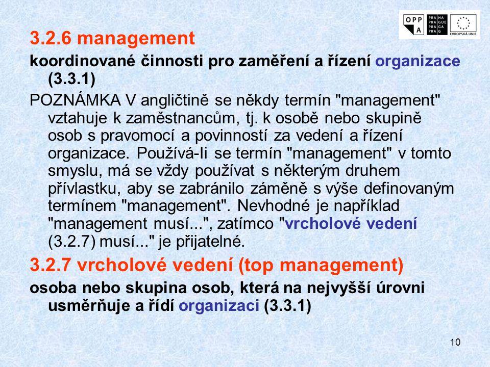 10 3.2.6 management koordinované činnosti pro zaměření a řízení organizace (3.3.1) POZNÁMKA V angličtině se někdy termín management vztahuje k zaměstnancům, tj.