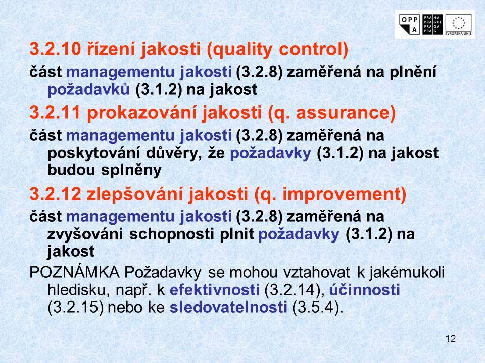 12 3.2.10 řízení jakosti (quality control) část managementu jakosti (3.2.8) zaměřená na plnění požadavků (3.1.2) na jakost 3.2.11 prokazování jakosti (q.