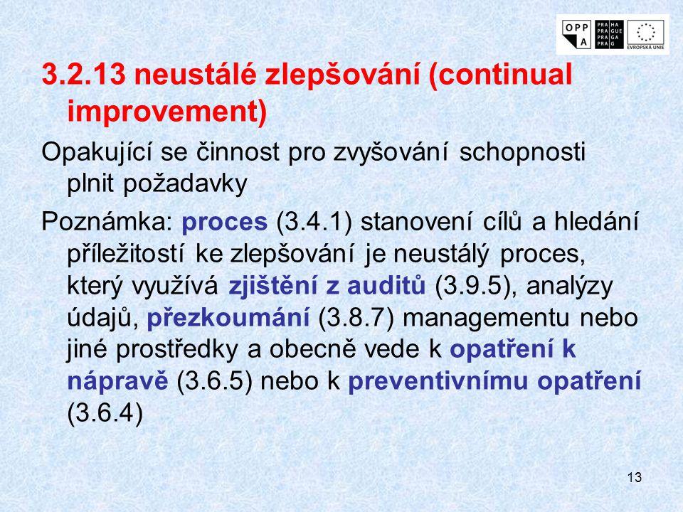 13 3.2.13 neustálé zlepšování (continual improvement) Opakující se činnost pro zvyšování schopnosti plnit požadavky Poznámka: proces (3.4.1) stanovení cílů a hledání příležitostí ke zlepšování je neustálý proces, který využívá zjištění z auditů (3.9.5), analýzy údajů, přezkoumání (3.8.7) managementu nebo jiné prostředky a obecně vede k opatření k nápravě (3.6.5) nebo k preventivnímu opatření (3.6.4)