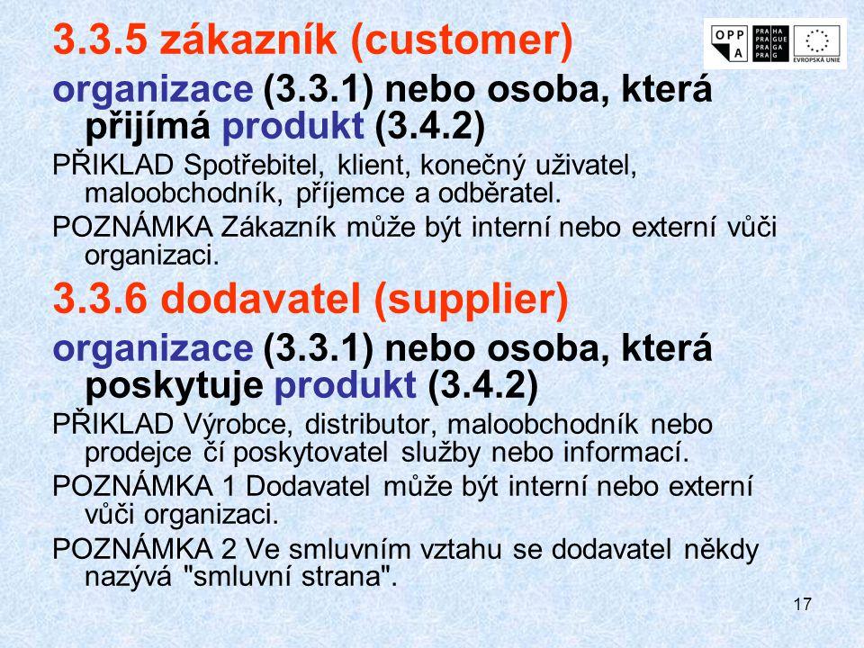 17 3.3.5 zákazník (customer) organizace (3.3.1) nebo osoba, která přijímá produkt (3.4.2) PŘIKLAD Spotřebitel, klient, konečný uživatel, maloobchodník
