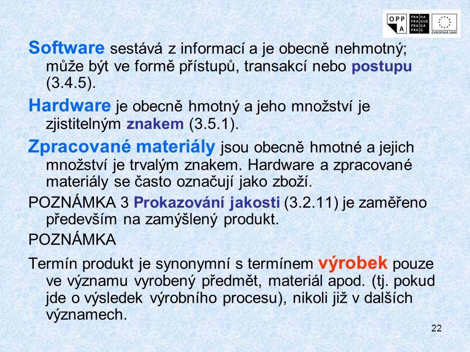 22 Software sestává z informací a je obecně nehmotný; může být ve formě přístupů, transakcí nebo postupu (3.4.5). Hardware je obecně hmotný a jeho mno