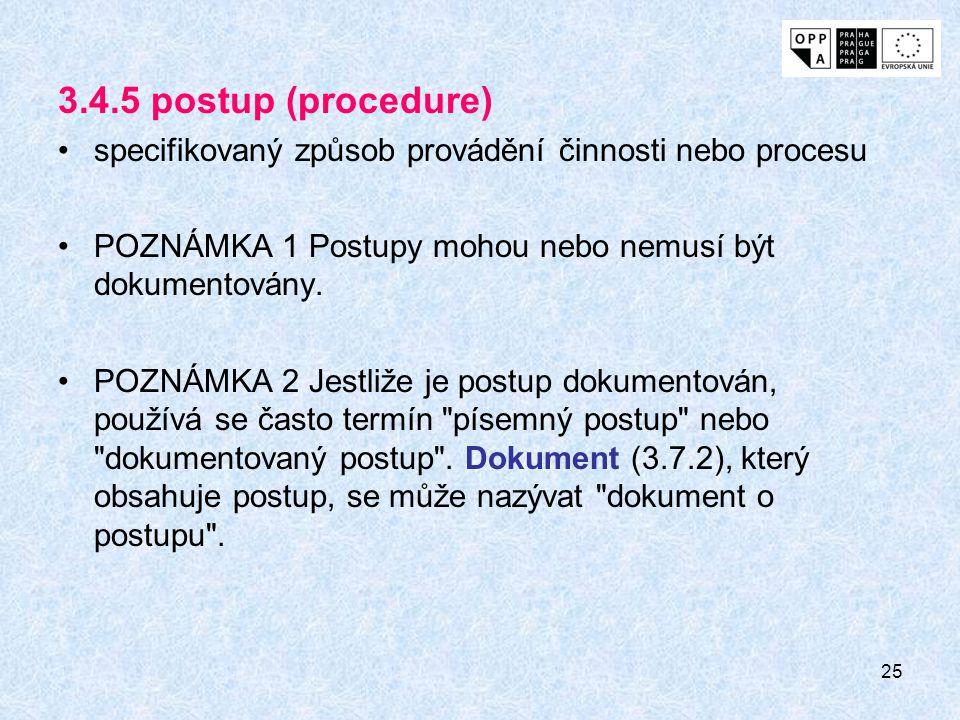 25 3.4.5 postup (procedure) specifikovaný způsob provádění činnosti nebo procesu POZNÁMKA 1 Postupy mohou nebo nemusí být dokumentovány.