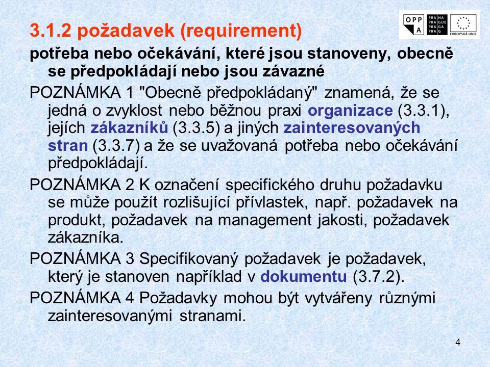 4 3.1.2 požadavek (requirement) potřeba nebo očekávání, které jsou stanoveny, obecně se předpokládají nebo jsou závazné POZNÁMKA 1