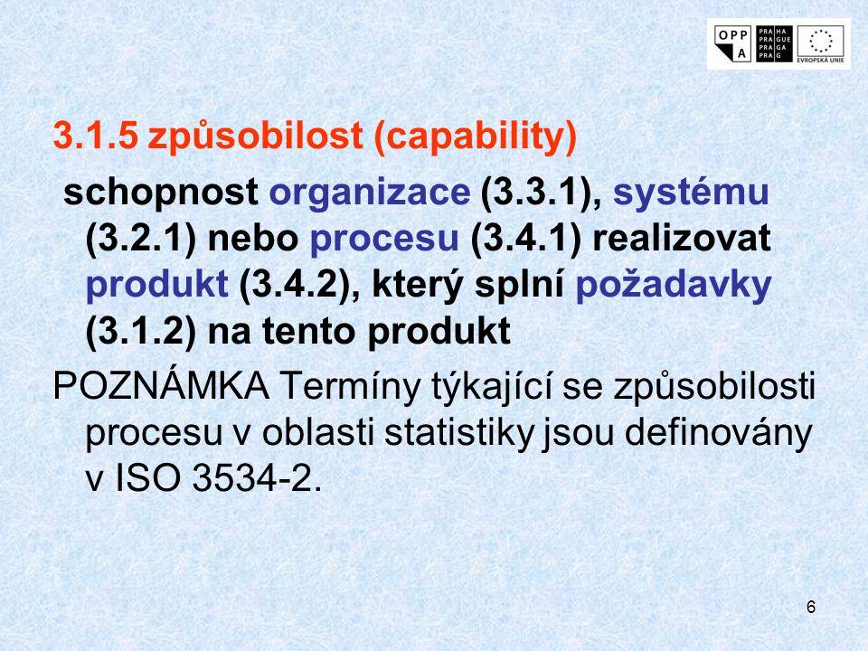 6 3.1.5 způsobilost (capability) schopnost organizace (3.3.1), systému (3.2.1) nebo procesu (3.4.1) realizovat produkt (3.4.2), který splní požadavky (3.1.2) na tento produkt POZNÁMKA Termíny týkající se způsobilosti procesu v oblasti statistiky jsou definovány v ISO 3534-2.