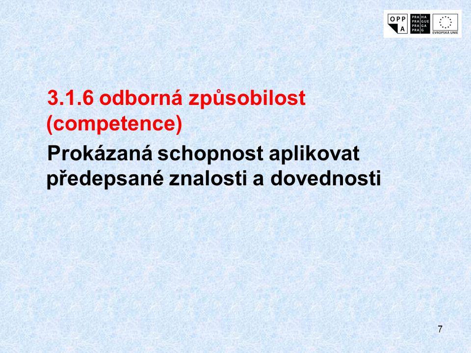 7 3.1.6 odborná způsobilost (competence) Prokázaná schopnost aplikovat předepsané znalosti a dovednosti