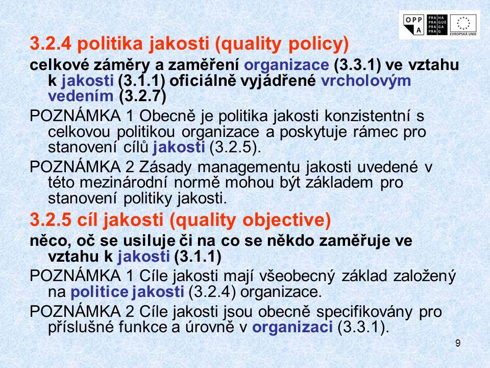 9 3.2.4 politika jakosti (quality policy) celkové záměry a zaměření organizace (3.3.1) ve vztahu k jakosti (3.1.1) oficiálně vyjádřené vrcholovým vedením (3.2.7) POZNÁMKA 1 Obecně je politika jakosti konzistentní s celkovou politikou organizace a poskytuje rámec pro stanovení cílů jakosti (3.2.5).