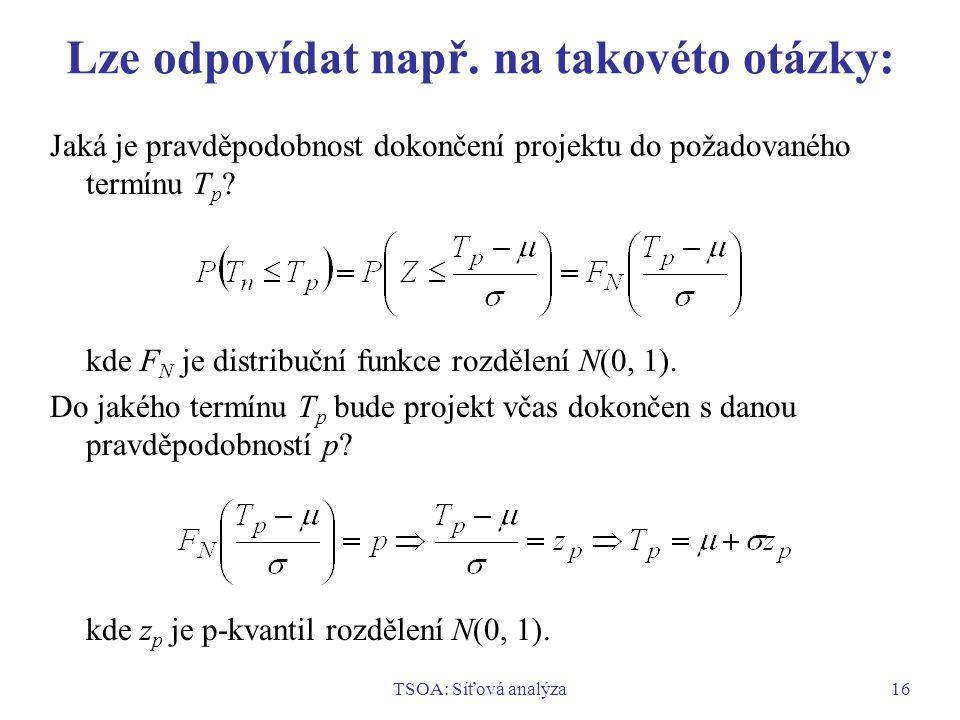 TSOA: Síťová analýza16 Lze odpovídat např. na takovéto otázky: Jaká je pravděpodobnost dokončení projektu do požadovaného termínu T p ? kde F N je dis