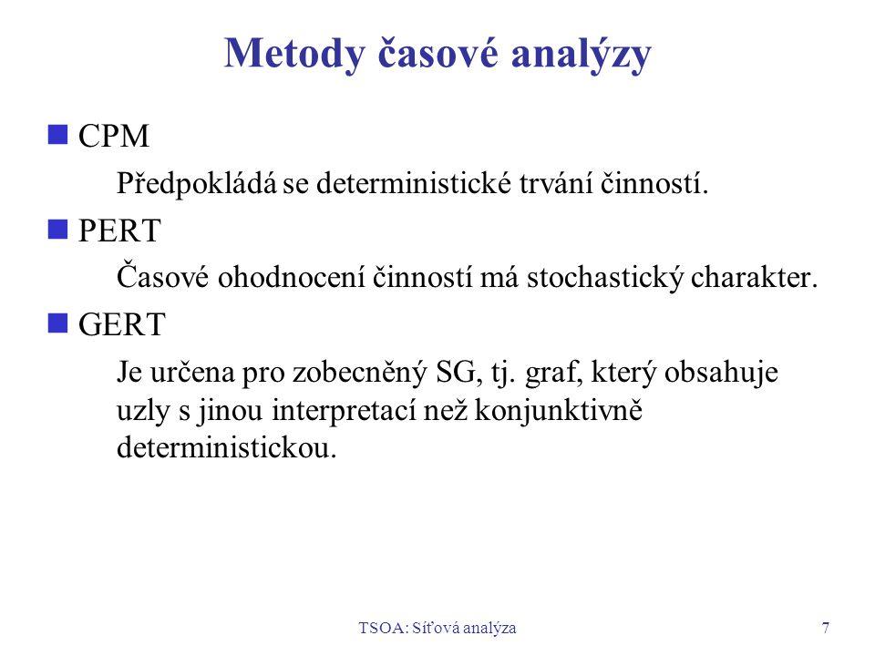 TSOA: Síťová analýza7 Metody časové analýzy CPM Předpokládá se deterministické trvání činností. PERT Časové ohodnocení činností má stochastický charak