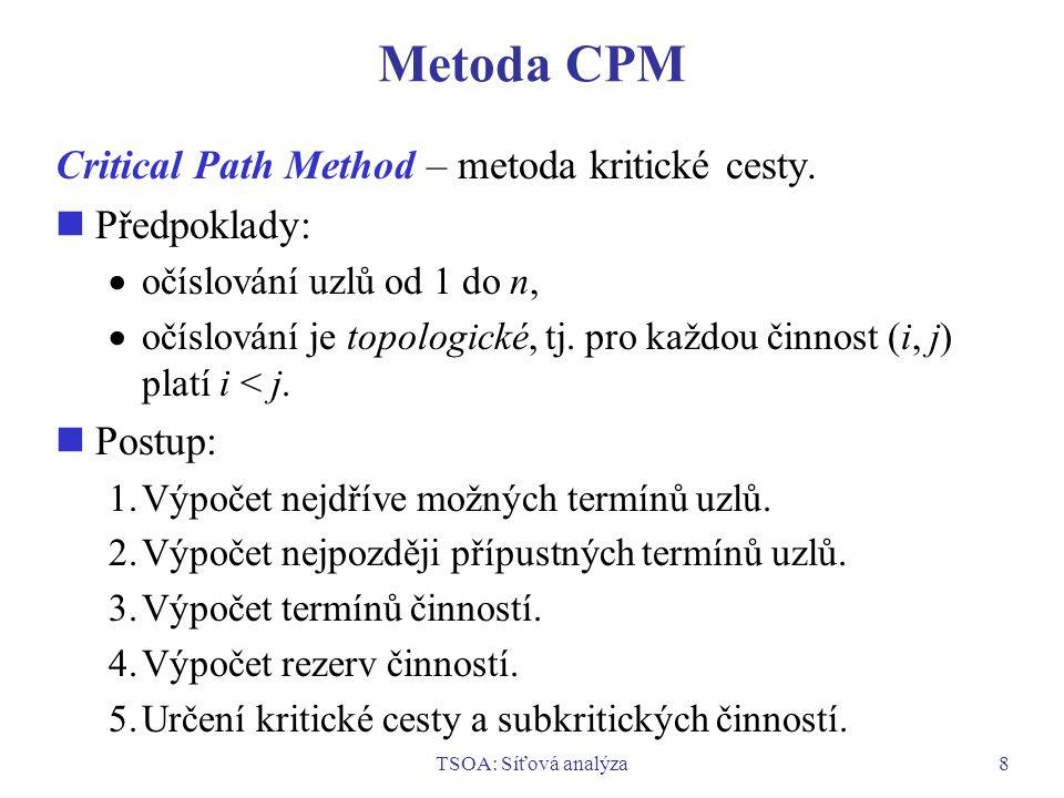 TSOA: Síťová analýza8 Metoda CPM Critical Path Method – metoda kritické cesty. Předpoklady:  očíslování uzlů od 1 do n,  očíslování je topologické,