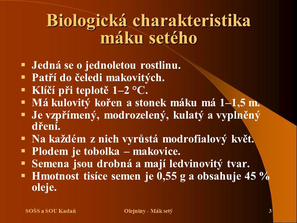 SOŠS a SOU KadaňOlejniny - Mák setý3 Biologická charakteristika máku setého  Jedná se o jednoletou rostlinu.  Patří do čeledi makovitých.  Klíčí př