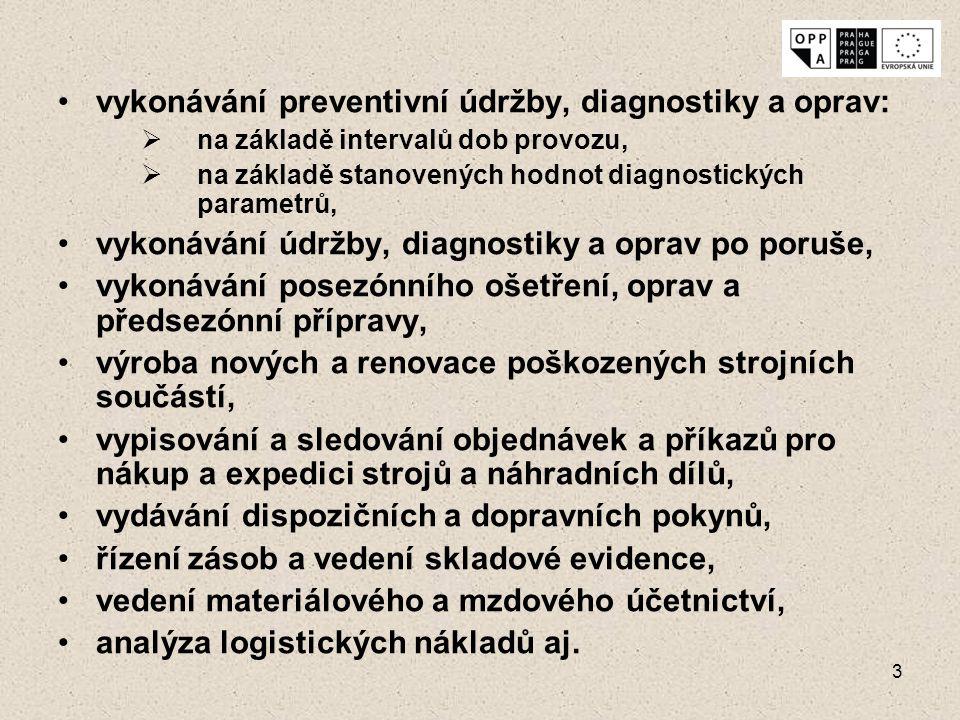 3 vykonávání preventivní údržby, diagnostiky a oprav:  na základě intervalů dob provozu,  na základě stanovených hodnot diagnostických parametrů, vy