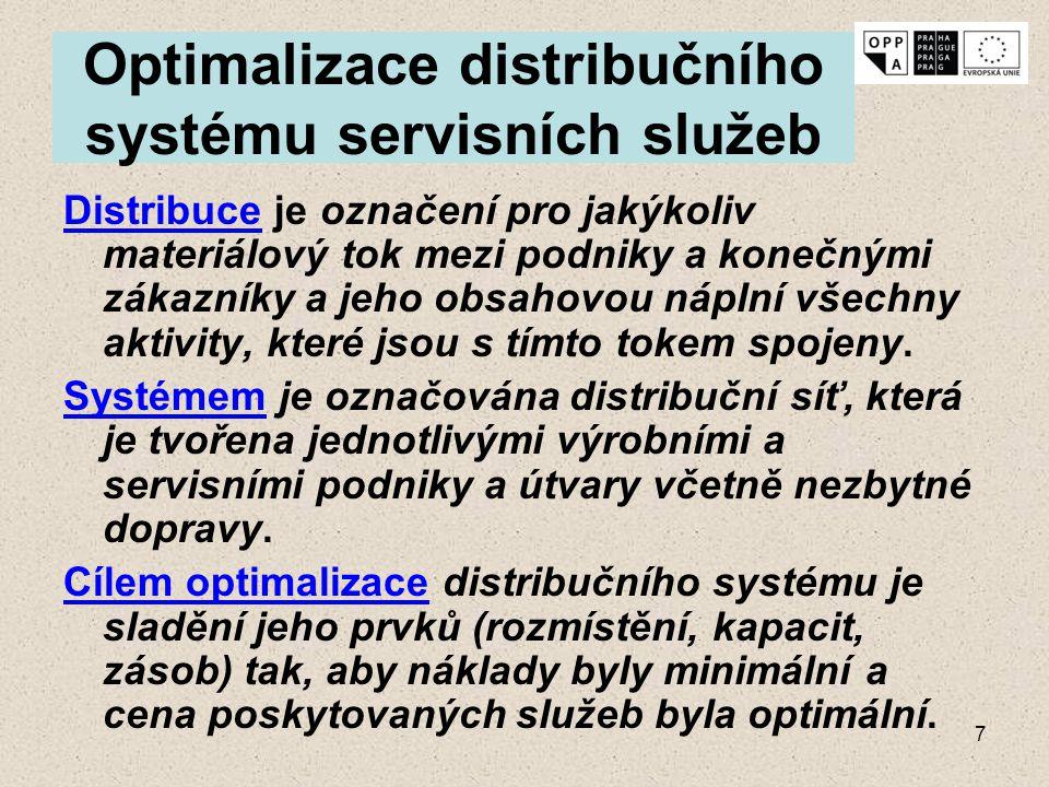 7 Optimalizace distribučního systému servisních služeb Distribuce je označení pro jakýkoliv materiálový tok mezi podniky a konečnými zákazníky a jeho