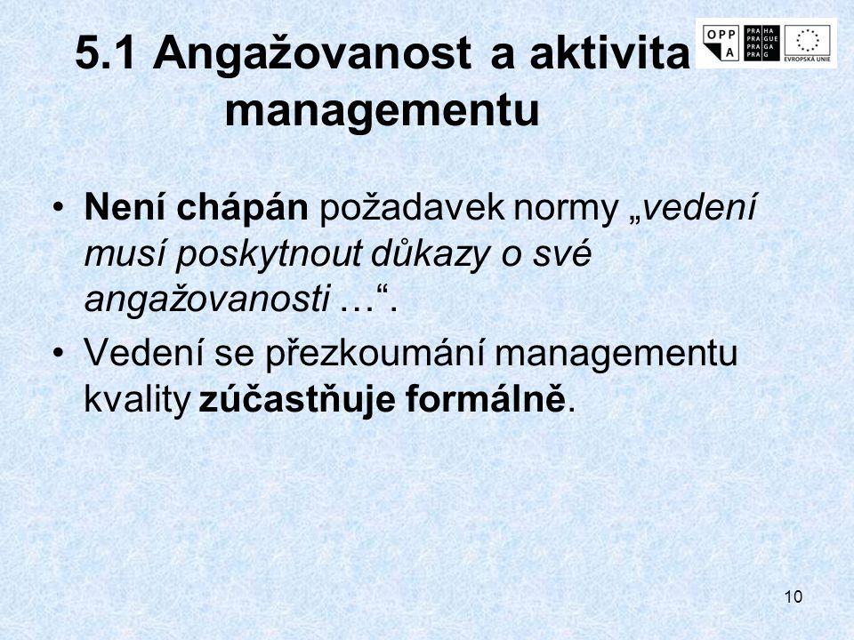"""10 5.1 Angažovanost a aktivita managementu Není chápán požadavek normy """"vedení musí poskytnout důkazy o své angažovanosti …"""". Vedení se přezkoumání ma"""