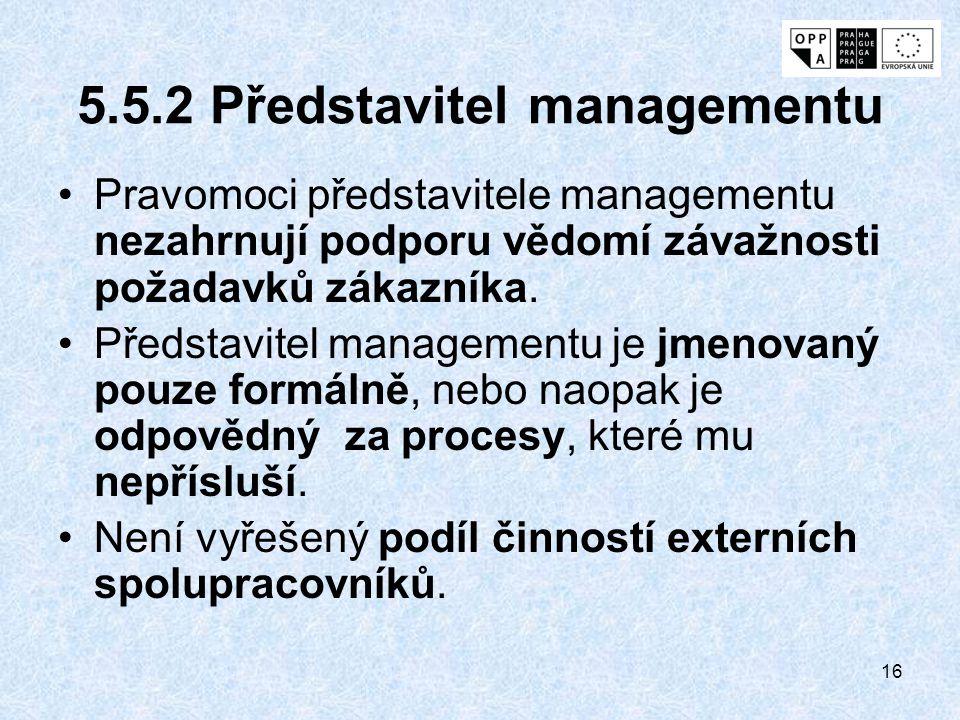 16 5.5.2 Představitel managementu Pravomoci představitele managementu nezahrnují podporu vědomí závažnosti požadavků zákazníka. Představitel managemen