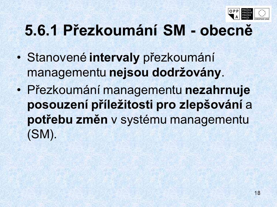 18 5.6.1 Přezkoumání SM - obecně Stanovené intervaly přezkoumání managementu nejsou dodržovány. Přezkoumání managementu nezahrnuje posouzení příležito