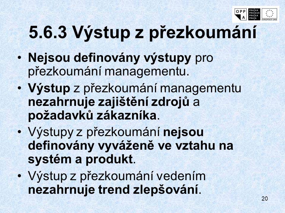 20 5.6.3 Výstup z přezkoumání Nejsou definovány výstupy pro přezkoumání managementu. Výstup z přezkoumání managementu nezahrnuje zajištění zdrojů a po