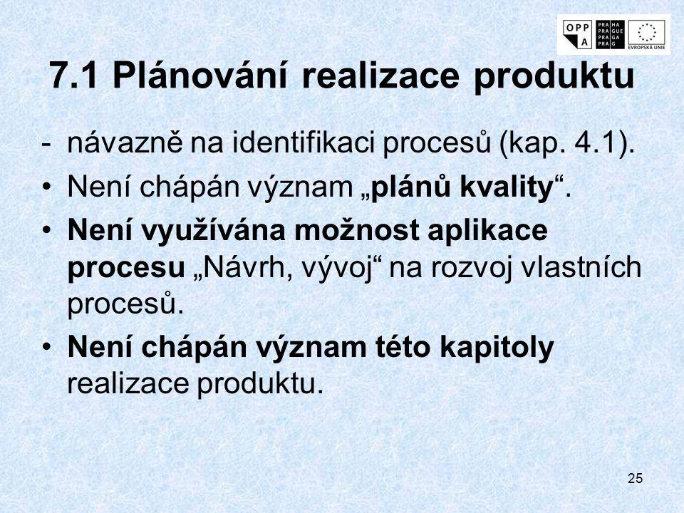 """25 7.1 Plánování realizace produktu -návazně na identifikaci procesů (kap. 4.1). Není chápán význam """"plánů kvality"""". Není využívána možnost aplikace p"""