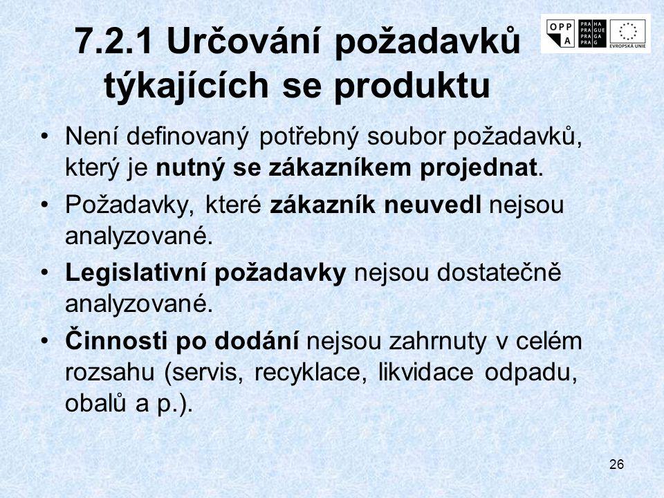 26 7.2.1 Určování požadavků týkajících se produktu Není definovaný potřebný soubor požadavků, který je nutný se zákazníkem projednat. Požadavky, které