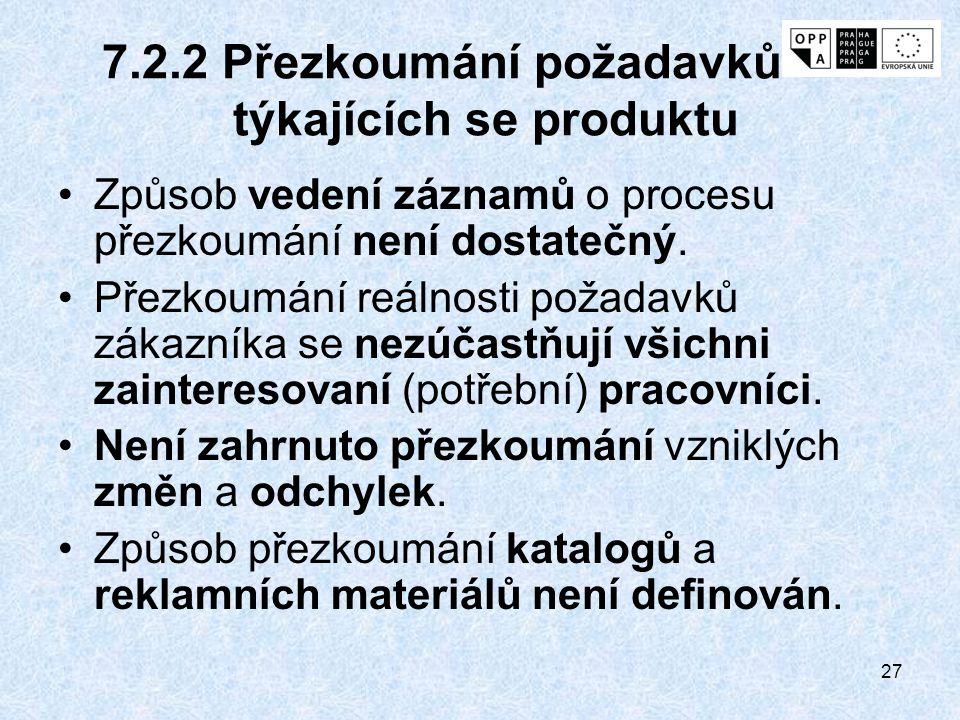 27 7.2.2 Přezkoumání požadavků týkajících se produktu Způsob vedení záznamů o procesu přezkoumání není dostatečný. Přezkoumání reálnosti požadavků zák