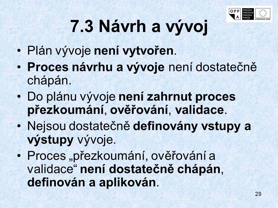 29 7.3 Návrh a vývoj Plán vývoje není vytvořen. Proces návrhu a vývoje není dostatečně chápán. Do plánu vývoje není zahrnut proces přezkoumání, ověřov