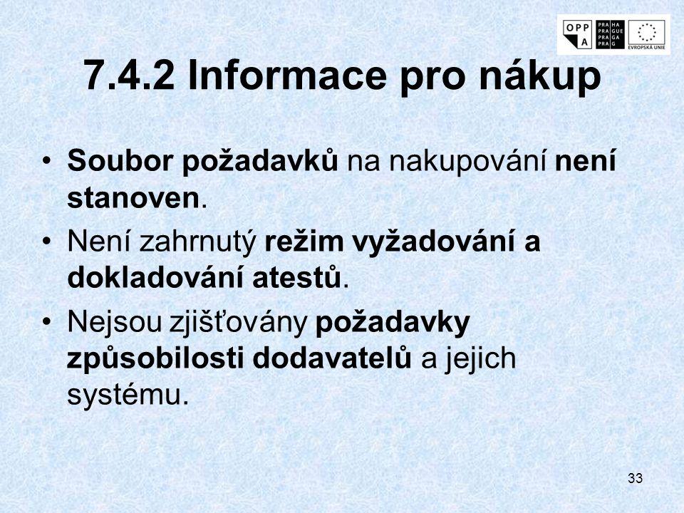33 7.4.2 Informace pro nákup Soubor požadavků na nakupování není stanoven. Není zahrnutý režim vyžadování a dokladování atestů. Nejsou zjišťovány poža