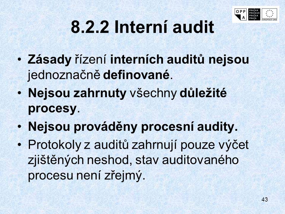 43 8.2.2 Interní audit Zásady řízení interních auditů nejsou jednoznačně definované. Nejsou zahrnuty všechny důležité procesy. Nejsou prováděny proces