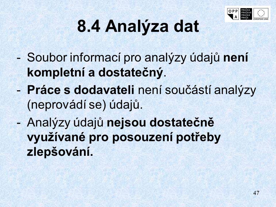 47 8.4 Analýza dat -Soubor informací pro analýzy údajů není kompletní a dostatečný. -Práce s dodavateli není součástí analýzy (neprovádí se) údajů. -A