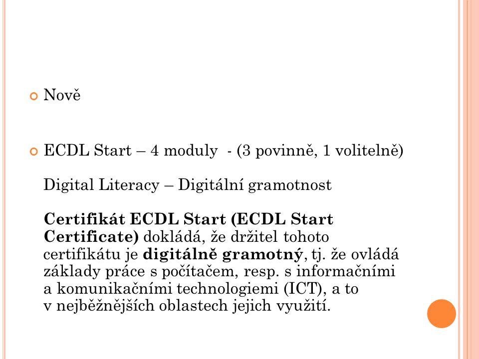 Nově ECDL Start – 4 moduly - (3 povinně, 1 volitelně) Digital Literacy – Digitální gramotnost Certifikát ECDL Start (ECDL Start Certificate) dokládá, že držitel tohoto certifikátu je digitálně gramotný, tj.