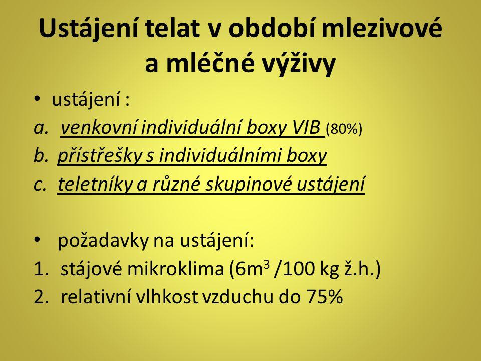 Ustájení telat v období mlezivové a mléčné výživy ustájení : a.venkovní individuální boxy VIB (80%) b.přístřešky s individuálními boxy c.teletníky a různé skupinové ustájení požadavky na ustájení: 1.stájové mikroklima (6m 3 /100 kg ž.h.) 2.relativní vlhkost vzduchu do 75%