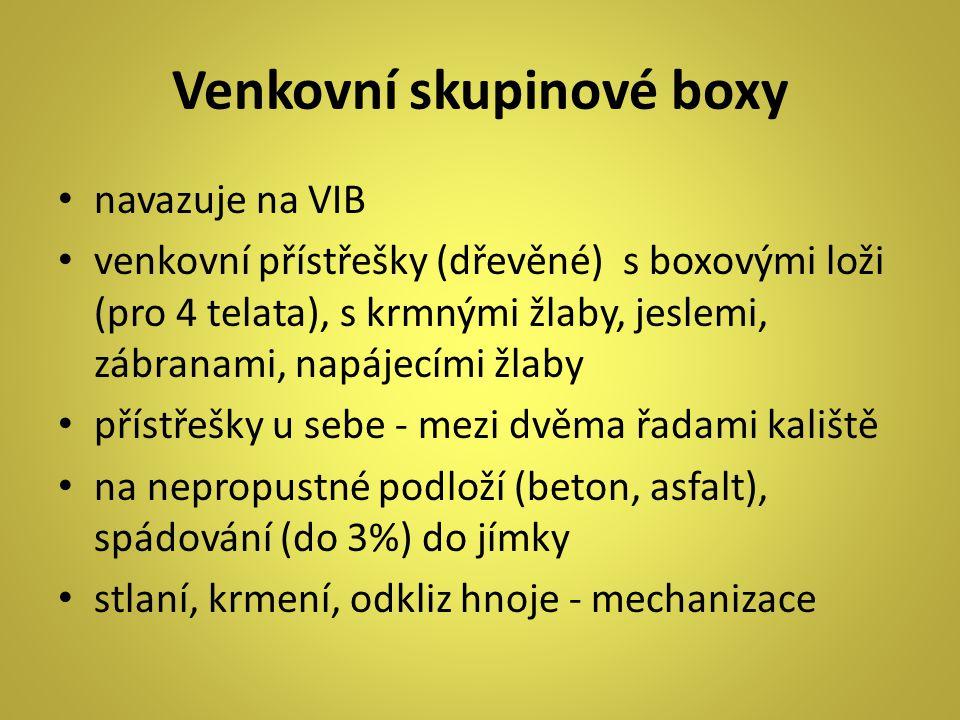 Venkovní skupinové boxy navazuje na VIB venkovní přístřešky (dřevěné) s boxovými loži (pro 4 telata), s krmnými žlaby, jeslemi, zábranami, napájecími