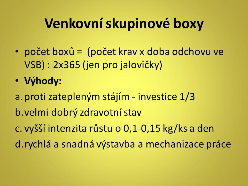 Venkovní skupinové boxy počet boxů = (počet krav x doba odchovu ve VSB) : 2x365 (jen pro jalovičky) Výhody: a.proti zatepleným stájím - investice 1/3 b.velmi dobrý zdravotní stav c.vyšší intenzita růstu o 0,1-0,15 kg/ks a den d.rychlá a snadná výstavba a mechanizace práce