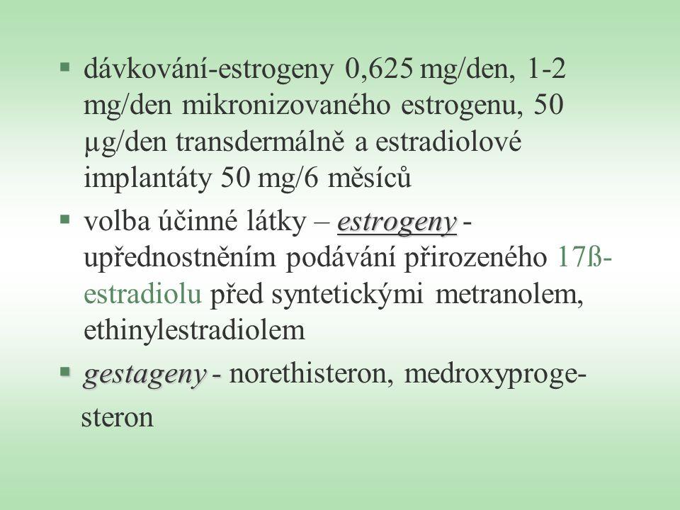 §dávkování-estrogeny 0,625 mg/den, 1-2 mg/den mikronizovaného estrogenu, 50 µg/den transdermálně a estradiolové implantáty 50 mg/6 měsíců estrogeny §v