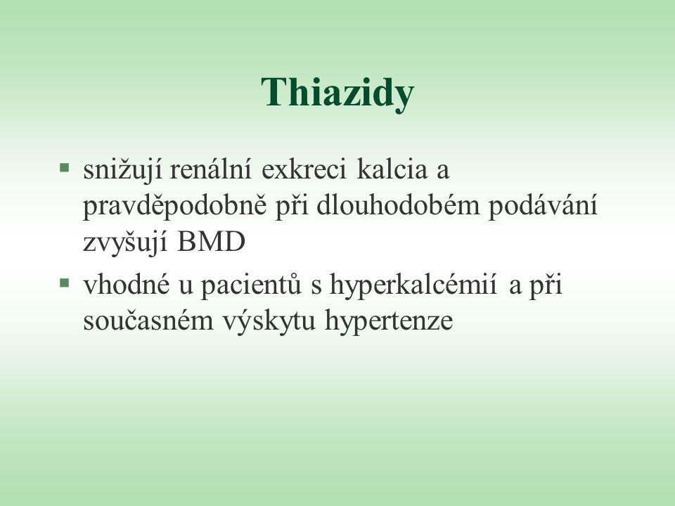 Thiazidy §snižují renální exkreci kalcia a pravděpodobně při dlouhodobém podávání zvyšují BMD §vhodné u pacientů s hyperkalcémií a při současném výsky