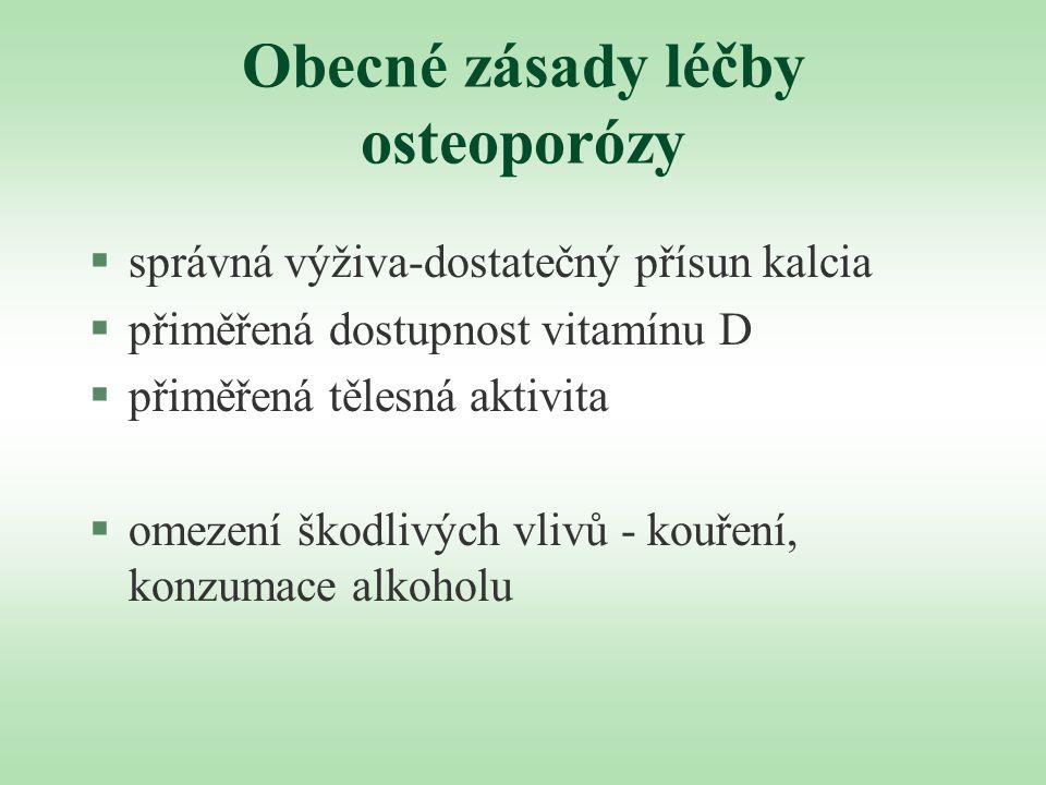 Obecné zásady léčby osteoporózy §správná výživa-dostatečný přísun kalcia §přiměřená dostupnost vitamínu D §přiměřená tělesná aktivita §omezení škodliv
