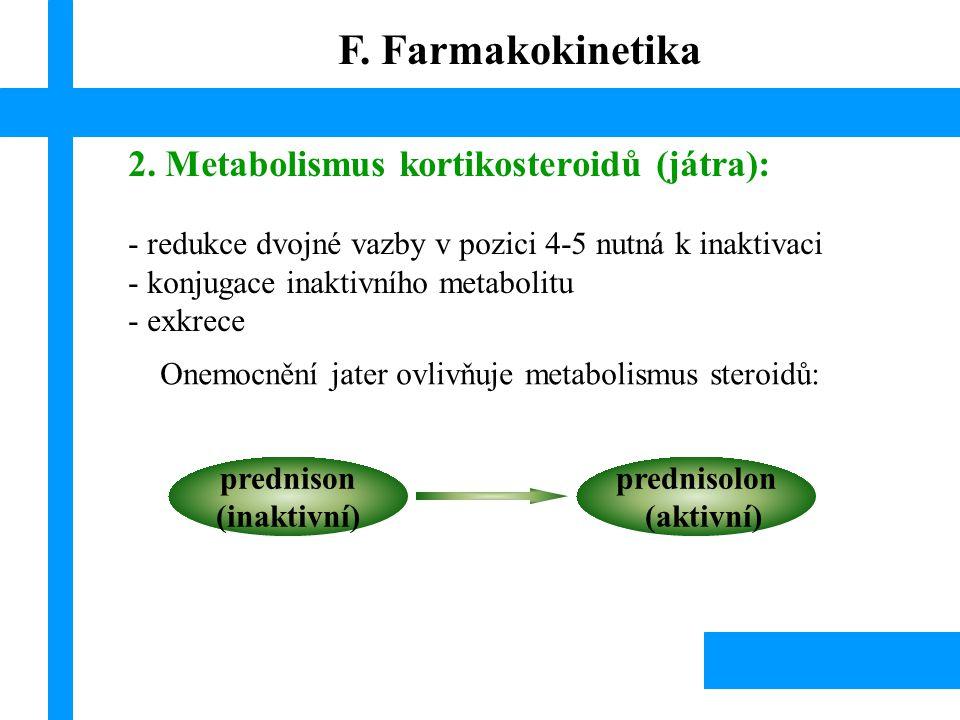 2. Metabolismus kortikosteroidů (játra): - redukce dvojné vazby v pozici 4-5 nutná k inaktivaci - konjugace inaktivního metabolitu - exkrece Onemocněn