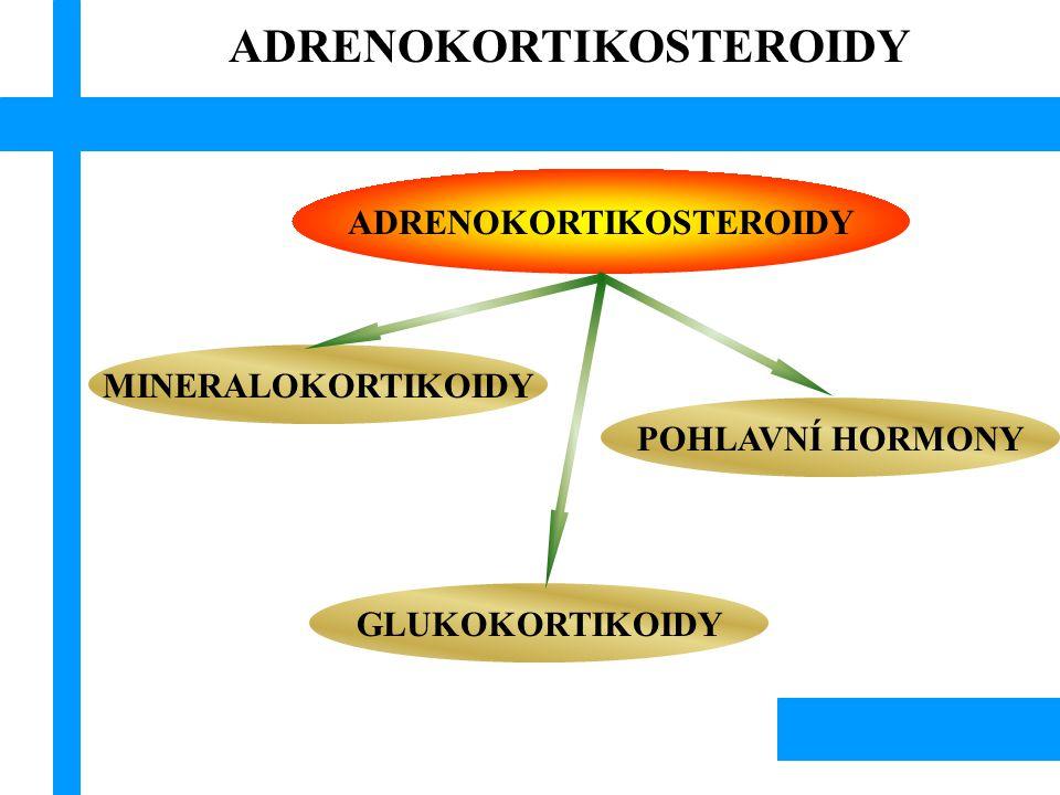 ADRENOKORTIKOSTEROIDY Hypotalamus Přední lalok hypofýzy Kůra nadledvin trauma emoční zátěž diurnální rytmus kortikosteroidy ACTH CRF negativní vazba