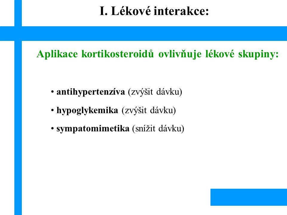 Aplikace kortikosteroidů ovlivňuje lékové skupiny: antihypertenzíva (zvýšit dávku) hypoglykemika (zvýšit dávku) sympatomimetika (snížit dávku) I. Léko