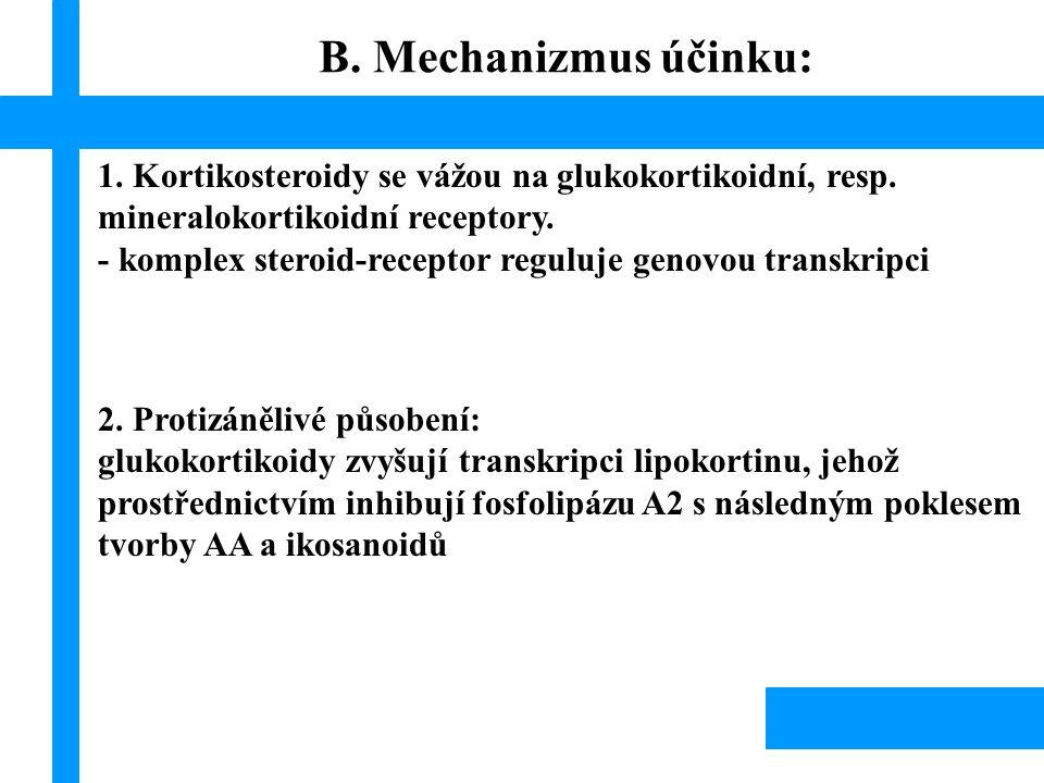 1. Kortikosteroidy se vážou na glukokortikoidní, resp. mineralokortikoidní receptory. - komplex steroid-receptor reguluje genovou transkripci 2. Proti