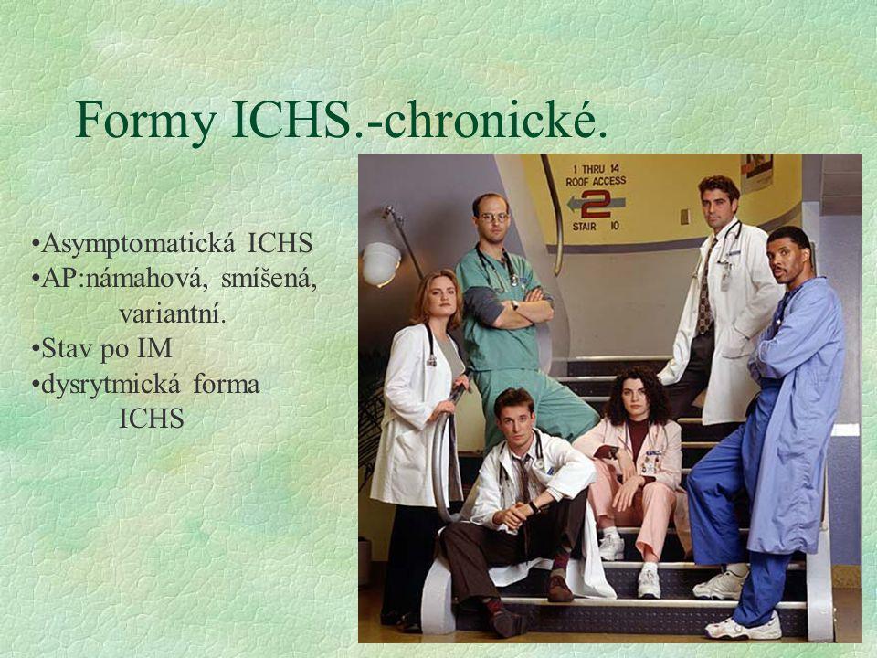 Formy ICHS.-chronické.Asymptomatická ICHS AP:námahová, smíšená, variantní.