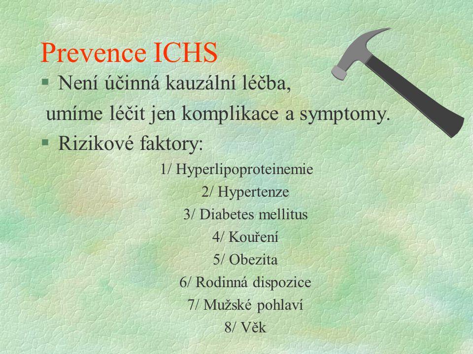 Prevence ICHS §Není účinná kauzální léčba, umíme léčit jen komplikace a symptomy.