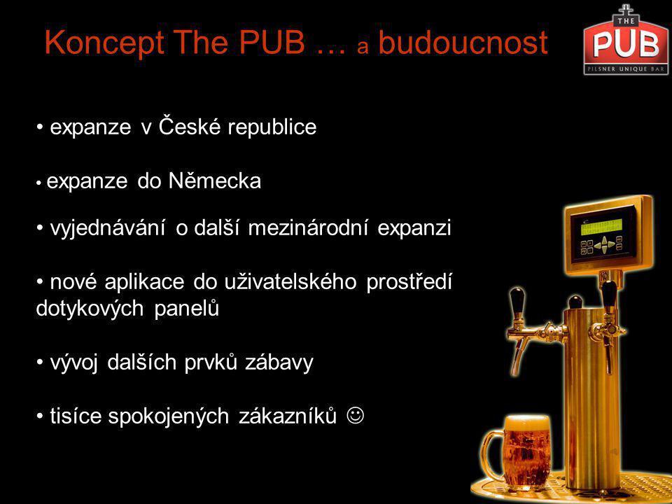 Koncept The PUB … a budoucnost expanze v České republice expanze do Německa vyjednávání o další mezinárodní expanzi nové aplikace do uživatelského prostředí dotykových panelů vývoj dalších prvků zábavy tisíce spokojených zákazníků