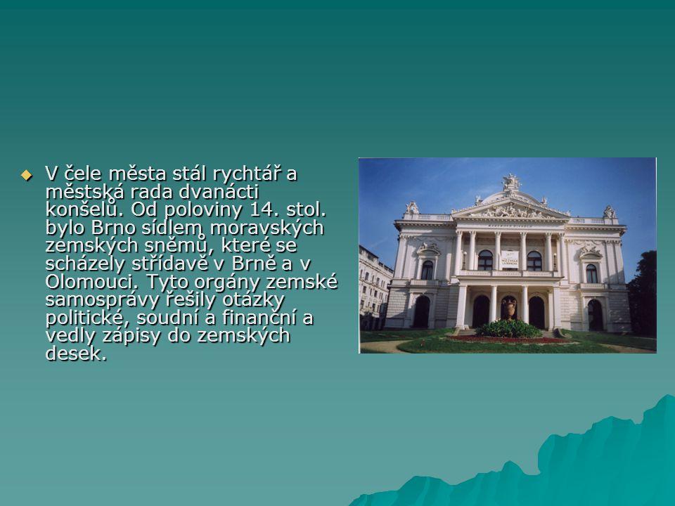  V čele města stál rychtář a městská rada dvanácti konšelů. Od poloviny 14. stol. bylo Brno sídlem moravských zemských sněmů, které se scházely stříd