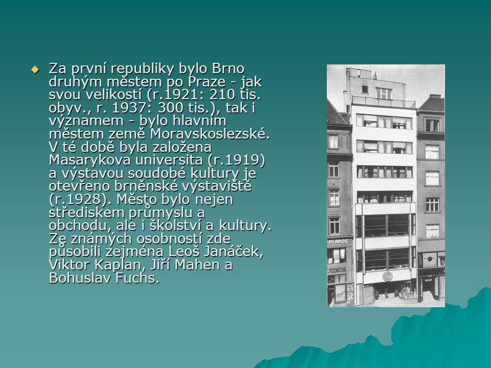  Za první republiky bylo Brno druhým městem po Praze - jak svou velikostí (r.1921: 210 tis. obyv., r. 1937: 300 tis.), tak i významem - bylo hlavním