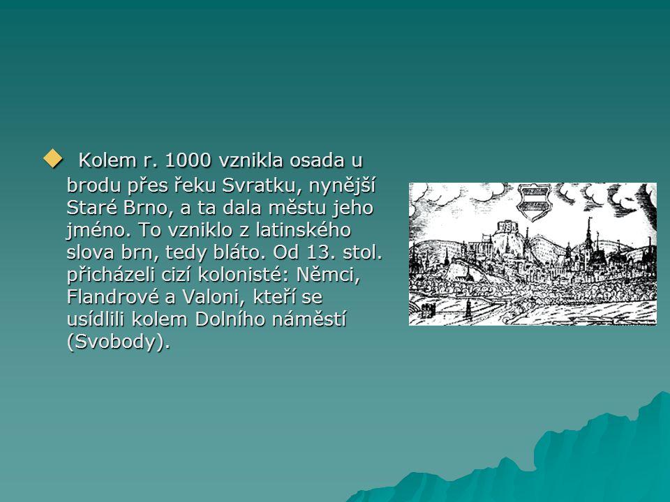  Kolem r. 1000 vznikla osada u brodu přes řeku Svratku, nynější Staré Brno, a ta dala městu jeho jméno. To vzniklo z latinského slova brn, tedy bláto