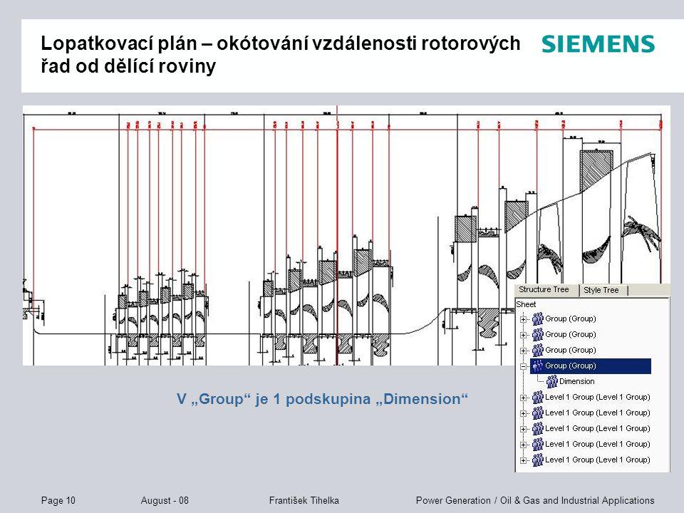 Page 10 August - 08 Power Generation / Oil & Gas and Industrial ApplicationsFrantišek Tihelka Lopatkovací plán – okótování vzdálenosti rotorových řad