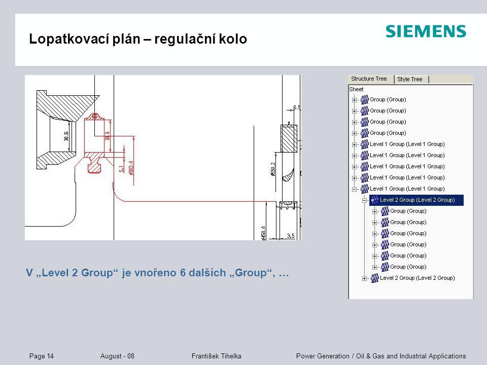 """Page 14 August - 08 Power Generation / Oil & Gas and Industrial ApplicationsFrantišek Tihelka Lopatkovací plán – regulační kolo V """"Level 2 Group"""" je v"""