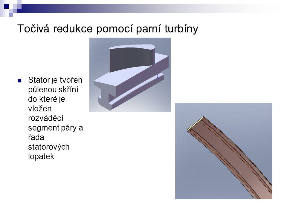 Točivá redukce pomocí parní turbíny Stator je tvořen půlenou skříní do které je vložen rozváděcí segment páry a řada statorových lopatek