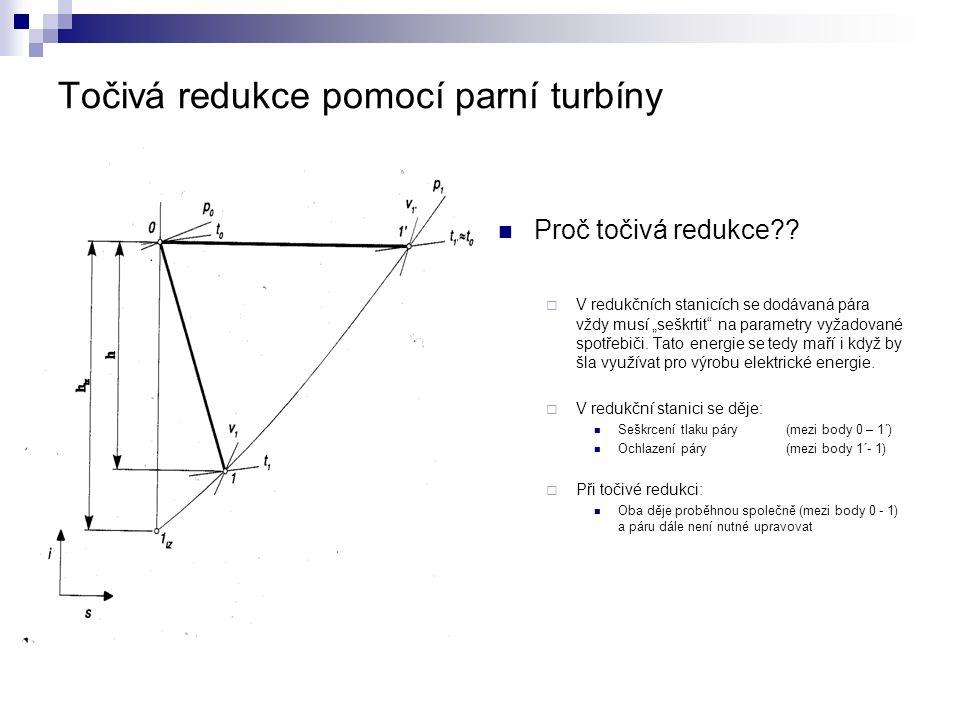 """Točivá redukce pomocí parní turbíny Proč točivá redukce??  V redukčních stanicích se dodávaná pára vždy musí """"seškrtit"""" na parametry vyžadované spotř"""